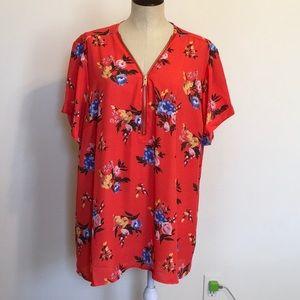 Rue+ Red Floral Flowy Zip Front PlusSize Blouse 4X